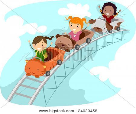 Illustration of Kids Riding a Rollercoaster
