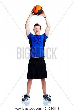 Healthy young strong man with ball. Isolated over white background. Sport.