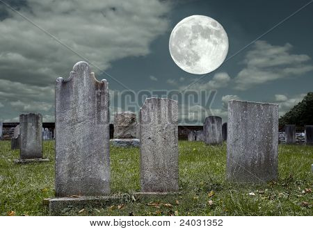 Graveyard at Full Moon