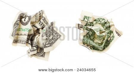 two sides of one crumpled dollar isolated on white with clipping path included