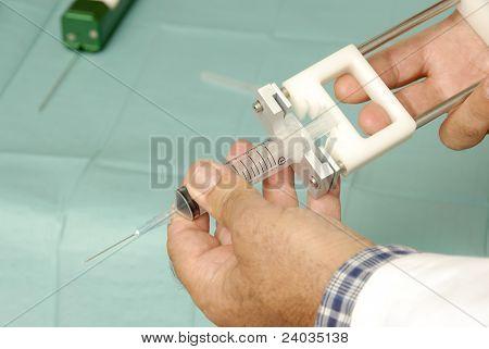 syringe to biopsy