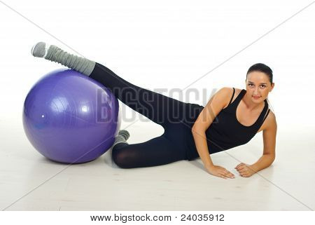 Fitness Woman Working With Pilates Ball