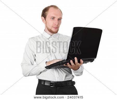Businessman In White Shirt With Laptop Isolated