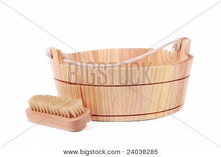 washtub and brush for body