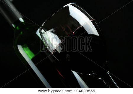 bottle blame on black background