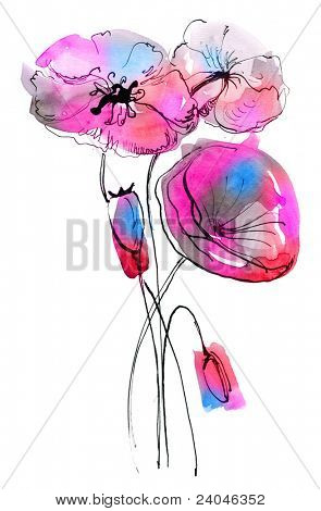 Abstract painted floral background