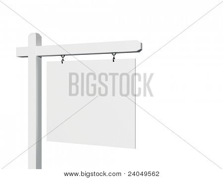 Blank 3D Sign Isolated on a White Background - ready for your message and your own background as well.