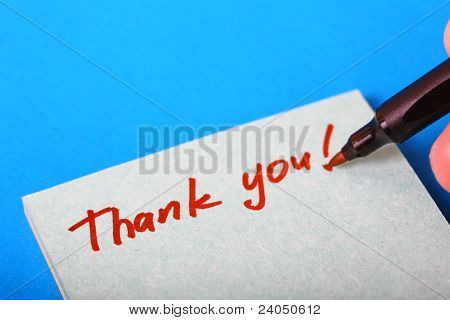 thank you note hand written on paper