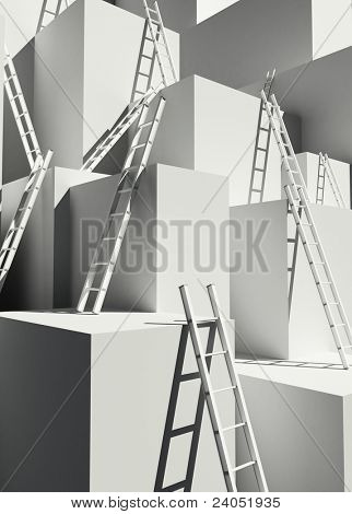 stairway and boxes