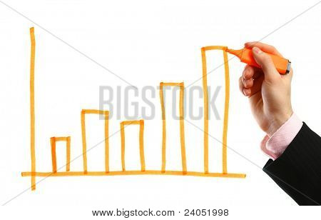 Hand showing graph isolated on white