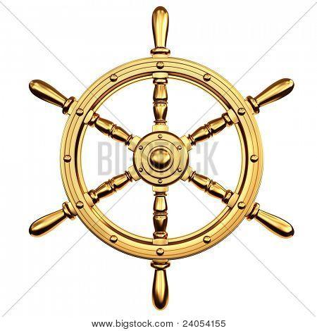 Goldenes Schiff-Lenkrad