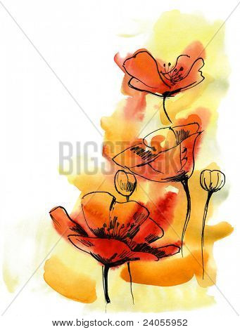 Floral summer design with hand-painted abstract flowers