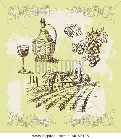 vintage vector hand drawn vineyard