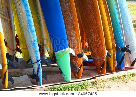 Surf boards standing on Kuta Bali beach