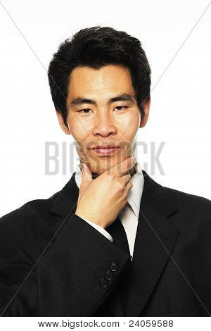 Asian businessman making decision
