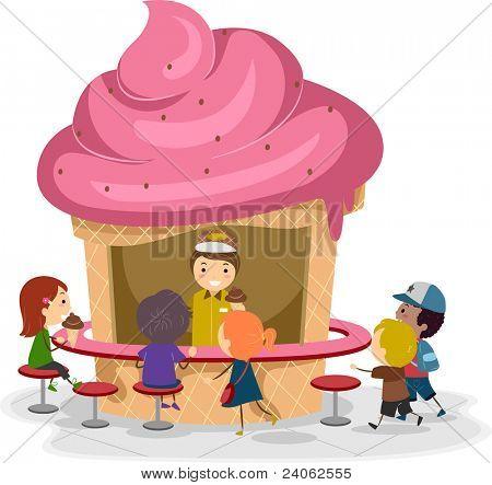 Illustration of Kids Gathered Around an Ice Cream Stall