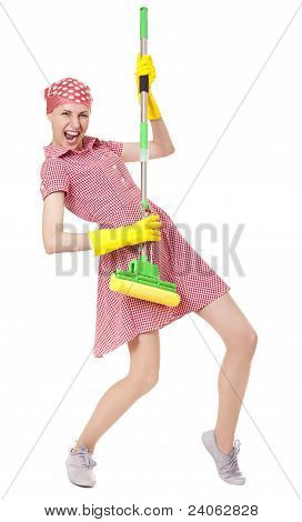 Playful charwoman with mop on white