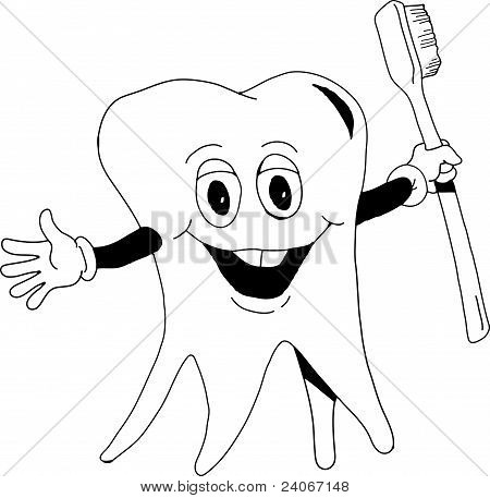 Tooth With Brush