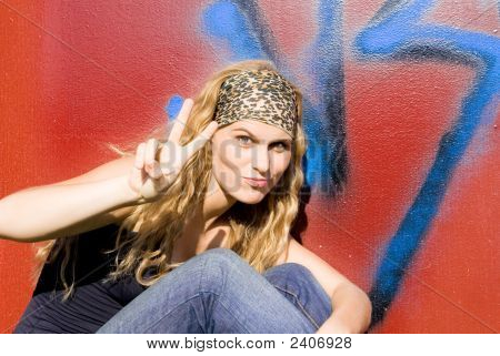 Victory Sign, Beautiful Trendy Teenager