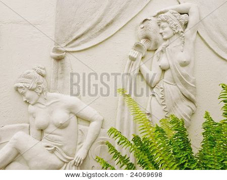Classical bas relief on spa wall