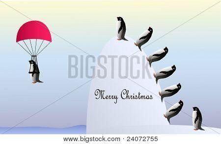 Merry Christmas flying penguins