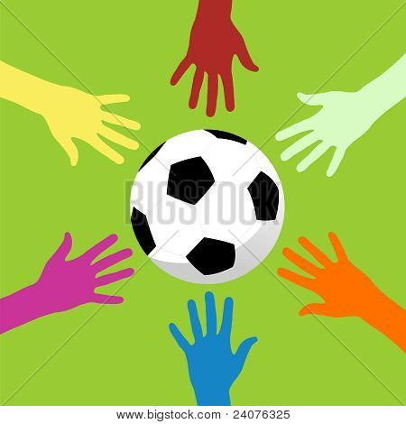 Soccer Ball And Hands Around