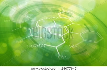 Chemical formulas & green ecology radial background - science illustration. Bitmap copy my vector ID 81545665