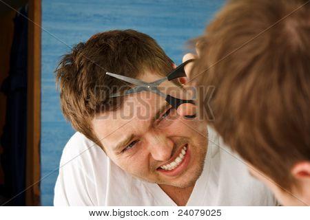 Man Mirror Hair Cut