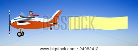3D Man Pulling Banner With Plane
