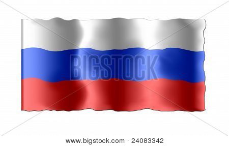 Russian tricolor flag with the waves on the perimeter