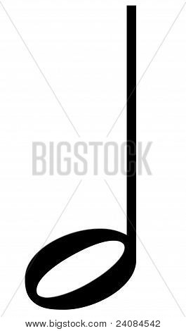 Note the half on a white background (musical symbol)