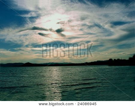 Evening sunset at sea
