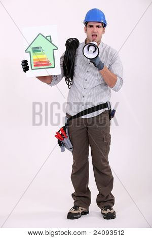 full-body portrait of electrician with loudspeaker