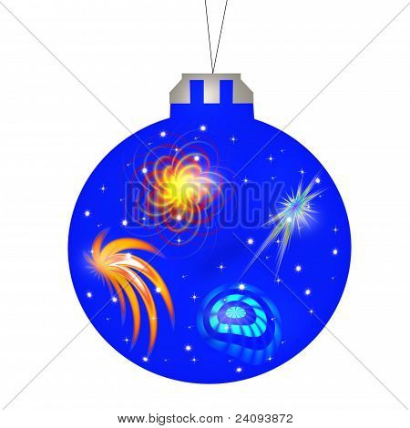 New Year (Christmas) the ball is blue with a pattern