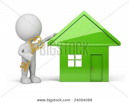 3D Person - House And A Golden Key