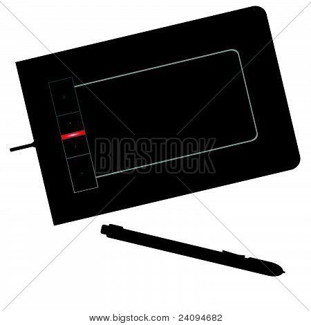 Ilustración de Vector negro tableta digitalizadora