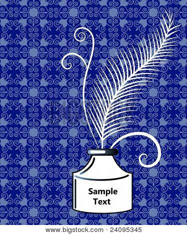 Feather in ink bottle pattern behind