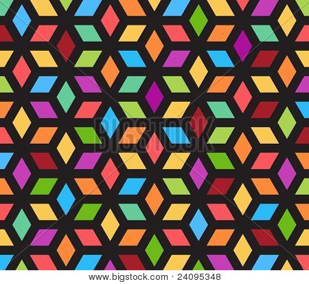 kaleidoscope optical illusion - you can see cubes or see flower petals