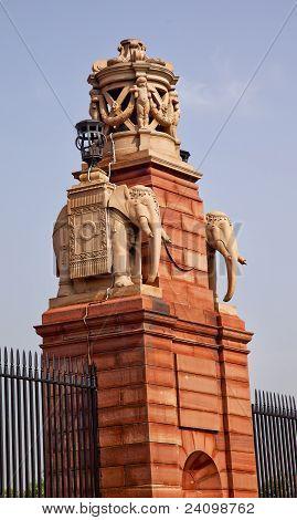 Stone Elephants Rashtrapati Bhavan Gate Official Residence President New Delhi India