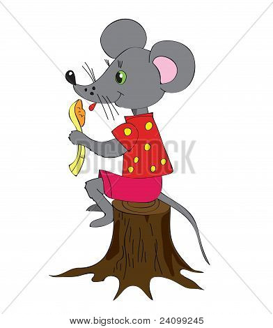 Gray Mouse On Hemp With A Spoon.