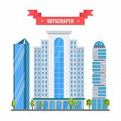 Multi-storey Skyscrapers, A Modern City. Office Buildings In The Center Of The Metropolis. High-tech poster
