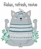 Vector Cartoon Sketch Meditative Animals Illustration With Motivation Phrase poster