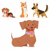 Puppy Vector Illustration Cute Dogs Characters Funny Purebred Puppy Doggy Comic Smile Happy Mammal B poster