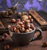 Whole Hazelnut Nutshell In A Brown Clay Cup, Close Up poster