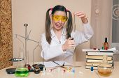 Emotional Student Girl On Chemistry Lesson. Pharmacist Or Crazy Apothecary Woman. Scientific Experim poster