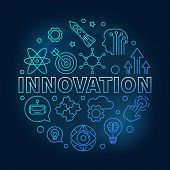 Innovation Vector Round Blue Illustration Made Of Innovations Icons In Outline Style On Dark Backgro poster