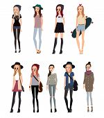 Fashion Girl In Different Hipster Images. In A Cap With A Longboard, There Are Braces And Coffee In  poster