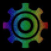 Pixel Bright Halftone Cogwheel Icon In Rainbow Color Tones With Horizontal Gradient On A Black Backg poster