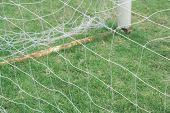Net Of Soccer Goal On Grass Field., Empty Football Goal With White Net With Copy Space For Text., Sp poster
