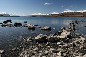 foto of mckenzie  - Lake Tekapo - LakeShore - Mckenzie Country New Zealand ** Note: Slight graininess, best at smaller sizes - JPG